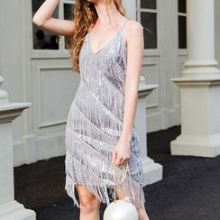 Fioridi - Spaghetti Strap Sequined Fringed Mini Dress
