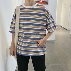 Jozev - Camiseta de rayas con media manga