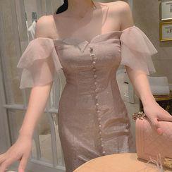 Alberlino - Short-Sleeve Glitter Mini Shift Dress