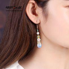 Gangnam - 复古仿珍珠玛瑙花朵耳坠