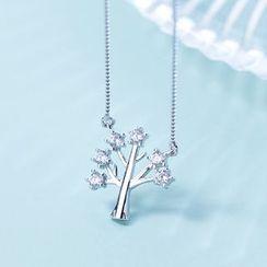 A'ROCH - 925純銀水鑽樹木吊墜項鏈