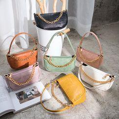 Hanaburg - Croc Grain Faux Leather Shoulder Bag