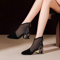 Chunki - 網紗拼接水鑽粗跟踝靴