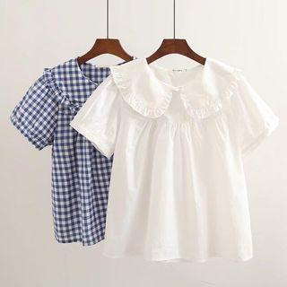 Suzette - Short-Sleeve Peter Pan Collar Babydoll Top
