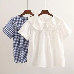Suzette - Short-Sleeve Peter Pan Collar Babydoll Top