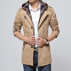 Bay Go Mall - Hooded Single-Breasted Coat