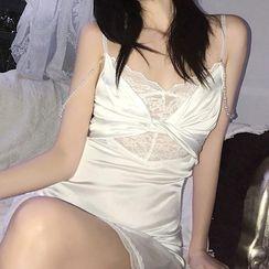 Jeshili - 细肩带蕾丝拼接迷你塑身连衣裙