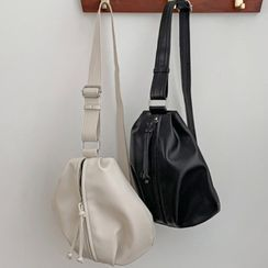 MERONGSHOP - Zipped Faux-Leather Bucket Sling Bag