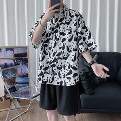 Sartho - Panda Patterned Short-Sleeve Shirt