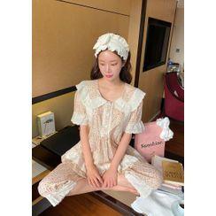 chuu - Laced Floral Babydoll Pajama Blouse & Pants Set