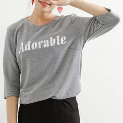 Ashlee - Lettering Elbow-Sleeve T-Shirt
