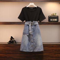 Sugar Town - Short-Sleeve Mock Two-Piece Denim Dress