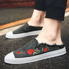 Lion Tips - Flower Embroidered Slip-Ons