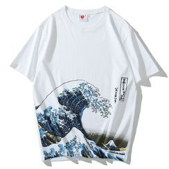 Basique - Short-Sleeve Sea Wave Print Round Neck T-Shirt