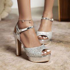 Megan(ミーガン) - Stiletto Heel Platform Glitter Sandals