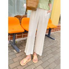 J-ANN - Textured Wide-Leg Pants