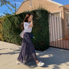 CHERRYKOKO - Tiered Patterned Maxi Skirt