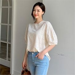 Styleberry - Puff-Sleeve Eyelet-Lace Top