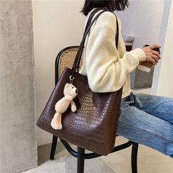 Bleckker - Plain Faux Leather Tote Bag