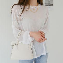 WITH IPUN - Pastel Dip-Back Silky T-Shirt