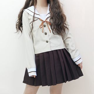 Tomoyo - Sailor-Collar Shirt / Mini Pleated Skirt / Cardigan / Set