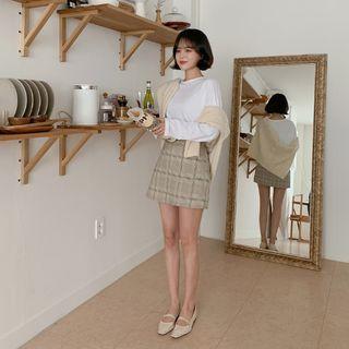 MERONGSHOP - Inset Shorts Plaid Mini Skirt