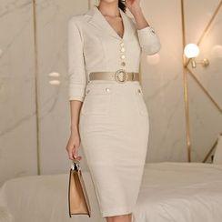 Shacos - 3/4-Sleeve Sheath Dress with Belt
