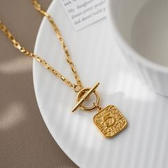 MOMENT OF LOVE - Numerical Embossed Pendant Stainless Steel Necklace