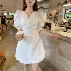 Ginger Girl(ジンジャーガール) - Puff-Sleeve Twist Mini A-Line Dress