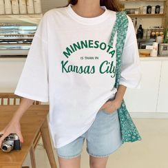 Envy Look - Elbow-Sleeve Letter Print T-Shirt