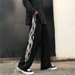 Porstina - Fire Print Straight-Cut Pants