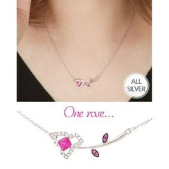 Miss21 Korea - Flower-Pendant Chain Silver Necklace