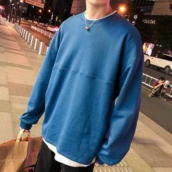 Wescosso - Round Neck Plain Mock Two-Piece Sweatshirt