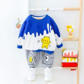 Mini Bae - Kids Set: Printed Pullover + Sweatpants