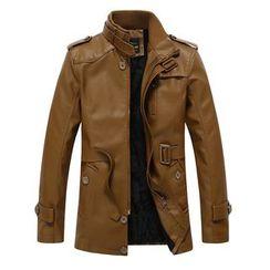 Carser - Faux Leather Mock-Neck Jacket