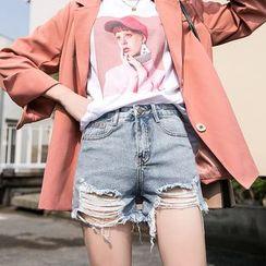 Denimot - Frayed Hem Ripped Denim Shorts