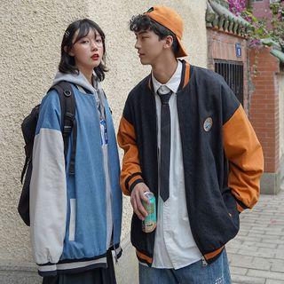 HANEN - Couple Matching Paneled Baseball Jacket