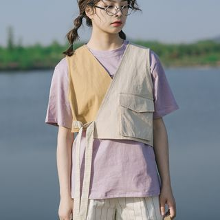 Echo Forest(エコーフォレスト) - Tie-Front Paneled Cropped Vest