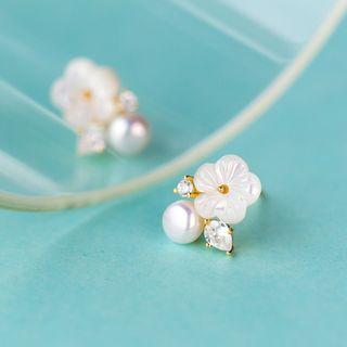 A'ROCH - Pendientes de presión con flor, perla de imitación y pedrería en plata de primera ley