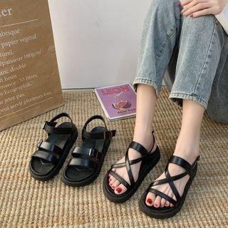 HOGG - Faux Leather Platform Sandals