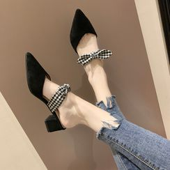 Anjay - Block Heel Pointed Bow Mules