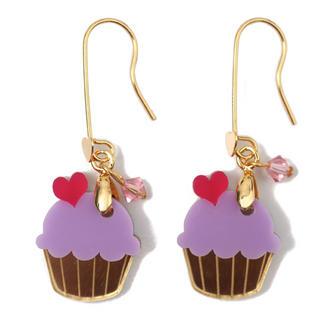 Sweet & Co. - Sweet&Co Mini Gold Purple Cupcake Crystal Earrings