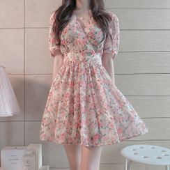 Leoom - Puff-Sleeve Floral Chiffon A-Line Mini Dress