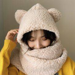 FROME - Bear Ear Shearling Hooded Scarf