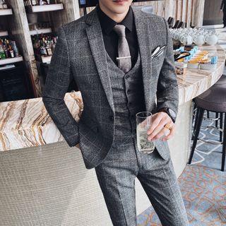 Blueforce - Set: Plaid Blazer + Vest + Dress Pants