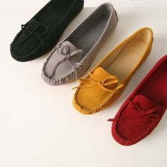 Wifky - Ribbon Suedette Driving Loafers