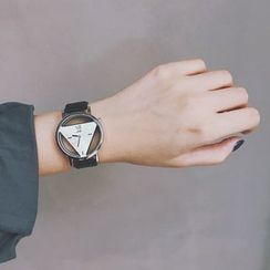 InShop Watches - Triangle Cutout Faux Leather Strap Watch