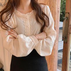 Yunhouse - 长袖蕾丝边衬衫