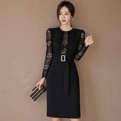 Hasu - Long-Sleeve Belted Lace Sheath Dress