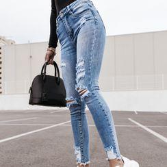 Lucada - 做舊窄身牛仔褲